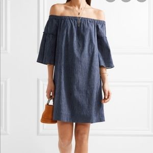 Madewell Off the Shoulder Striped A-Line Dress